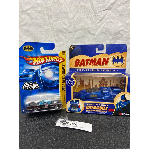 1990's DC Comics DieCast BatMobile (1:43 Scale) and 2007 First Editions Hot Wheels TV BatMobile