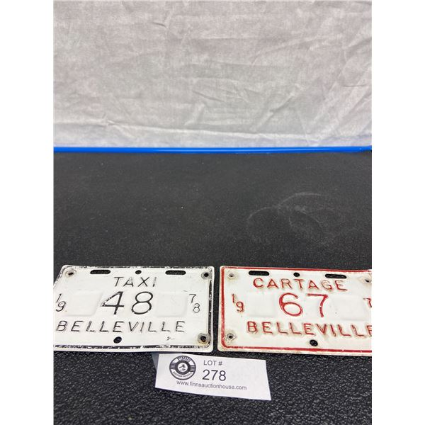 1977 Cartage No. 67 Belleville License Plate and 1978 Taxi No. 48 Belleville License Plate