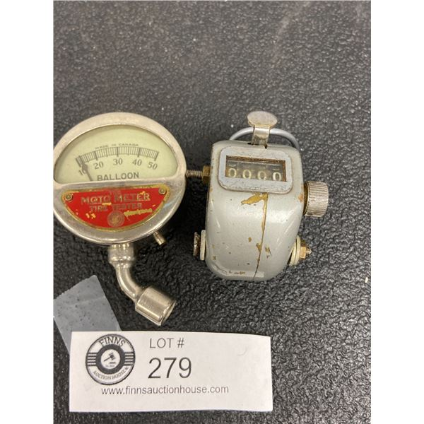 Veeder Root Mechanical  Counter Manual and 1930's Vintage MotoMeter Tire Tester Balloon Pressure Gau