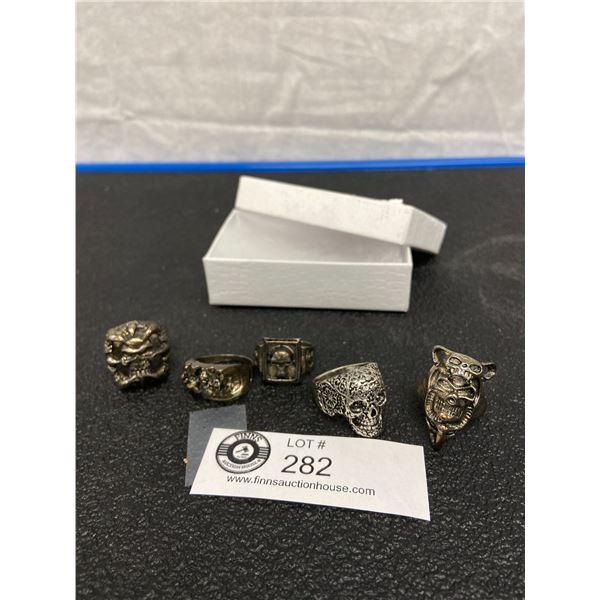 Five Assorted Metal Skull Rings
