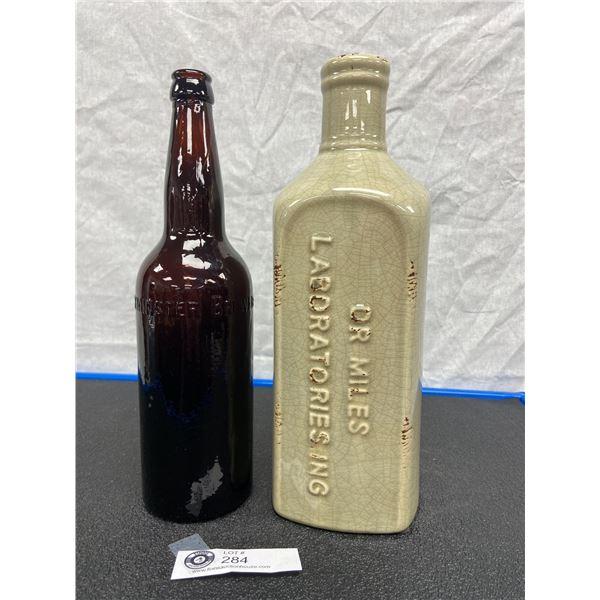 Vintage  Design Dr Miles Laboratories Ceramic Bottle and Westminster Original Brewery REGSTD NW BC