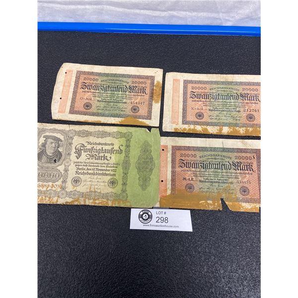 Lot of Old German Paper Money 1923 etc