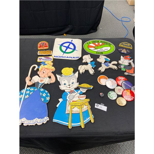 Miscellaneous Collectible Lot of Pins Patches Little Bo Peep Wooden Cut outs