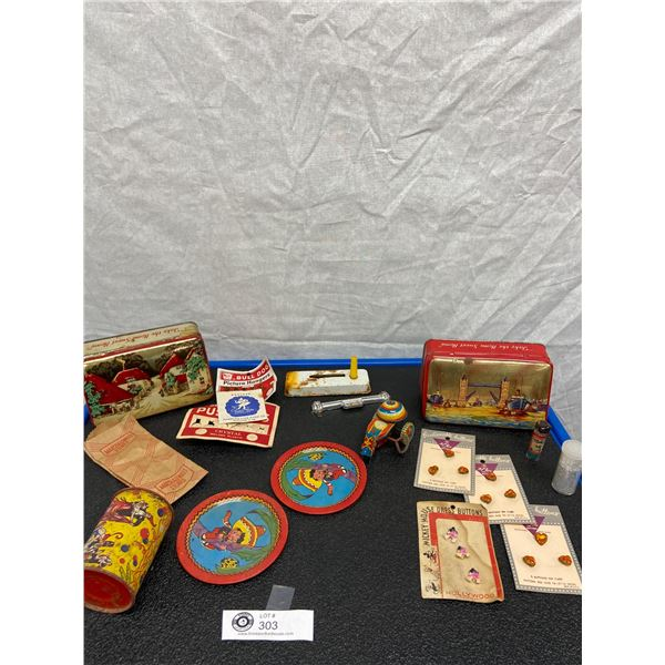Vintage Tin Lot of Tin Toys, Tins with Contents etc