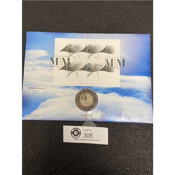 Last Day of 1999, First Day of 2000 Millenium Moment Coin Cover with 5 Pound Coin and Stamps