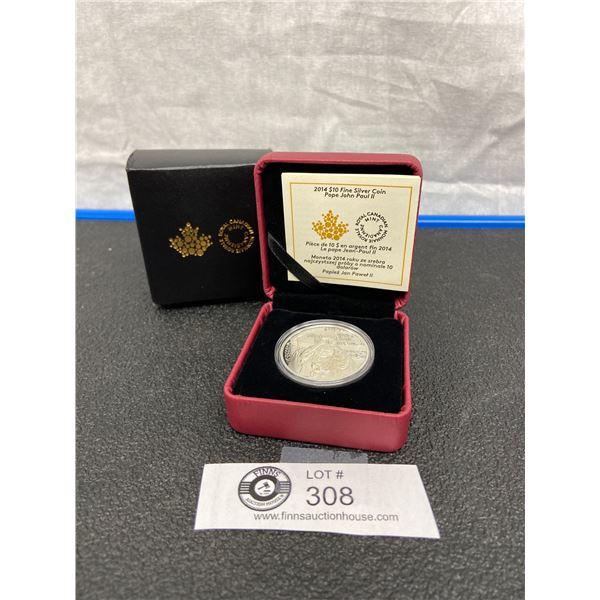2014 Fine Silver Coin Pope John Paul II in Original Case
