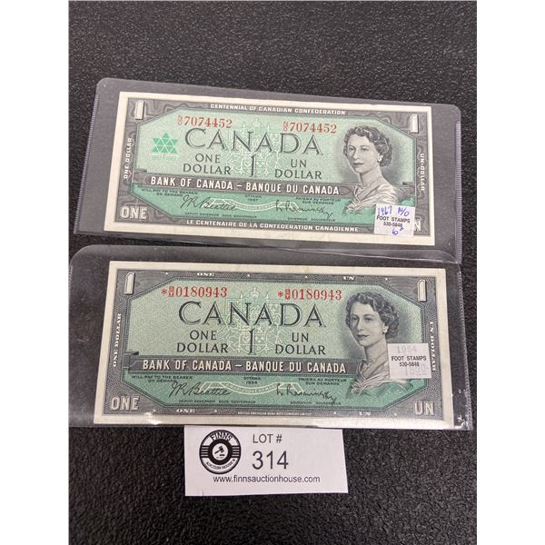 2 1967 $1 Bank Notes with Serial Numbers, 1 is a Replacement