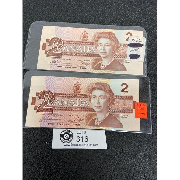 2 1986 $2 Bank Notes Uncirculated Prefix EGR and BBC