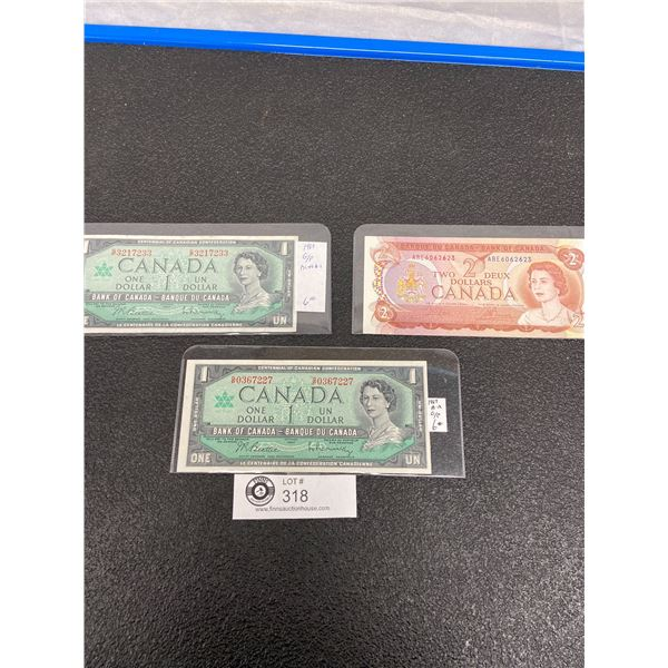 2 1967 $1 Bank Notes and a 1974 $ Bank Note.In Holders Uncirculated