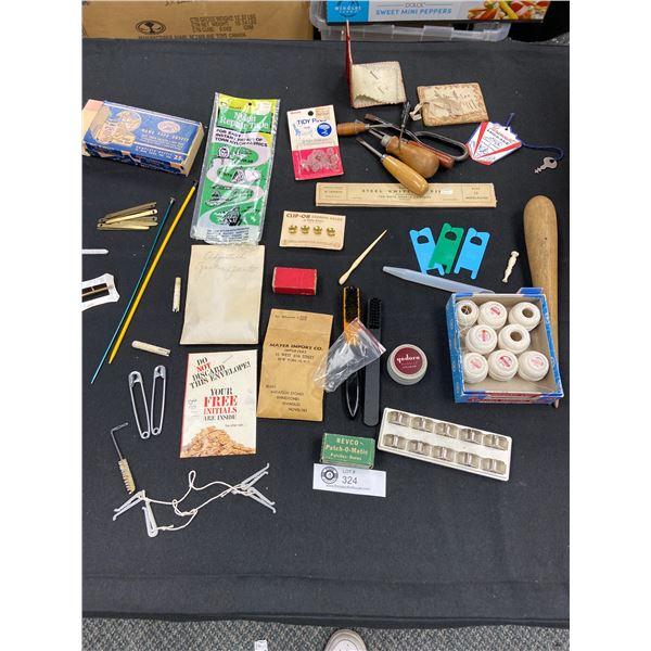 Vintage Sewing Lot. Needles Thread,Tools etc