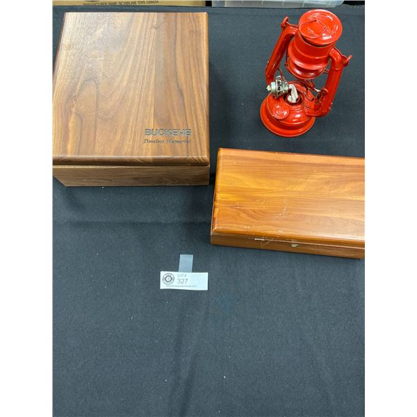 2 Wooden Boxes and a Small Kerosene Lamp Missing the Lens