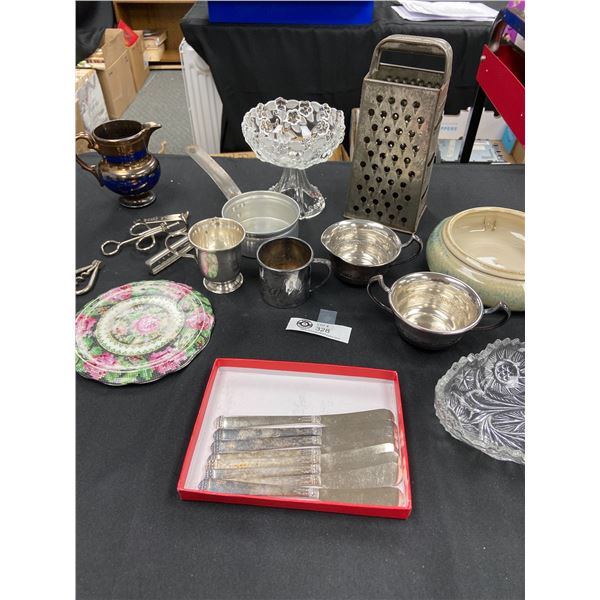 Vintage Kitchen Lot of Bowls Utensils, Silver Plated Cream and Sugar Etc