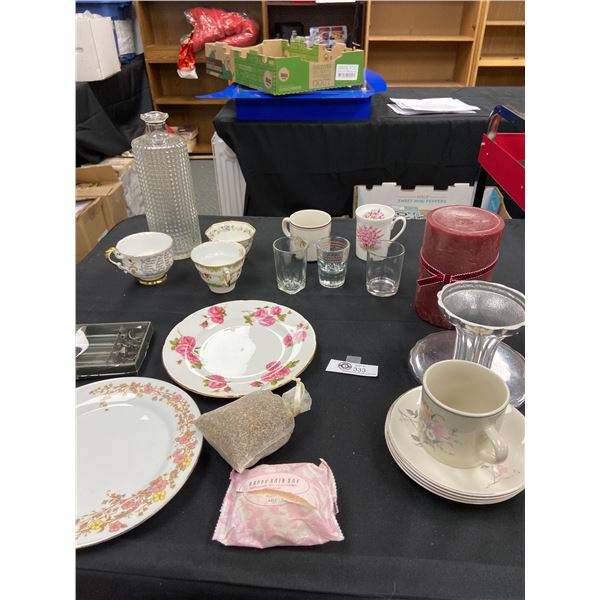 Large Tray Lot of Vintage Tea Cups, Saucers, Candles Etc