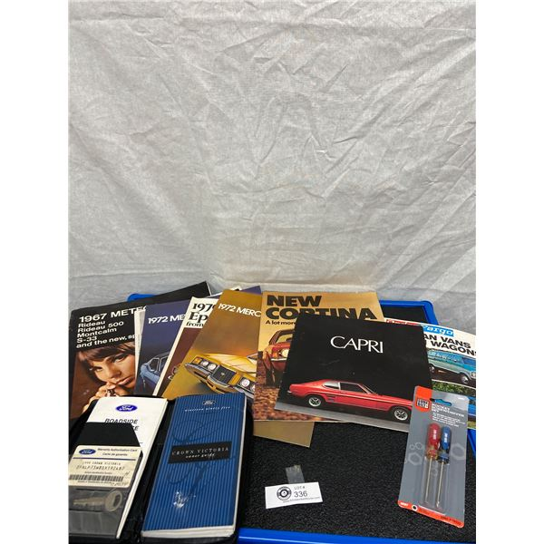 Lot of Older Car Manuals Ford Capri, Mercury, General Motors Plus Crown Victoria Owners Manual etc.