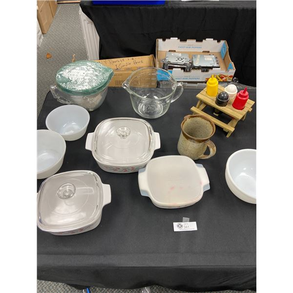 Large Kitchen Lot of Corning Ware, Glass Measuring Cups etc