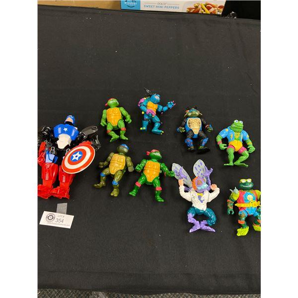 Tray Lot of Vintage Toys. Mutant Ninja Turtles etc