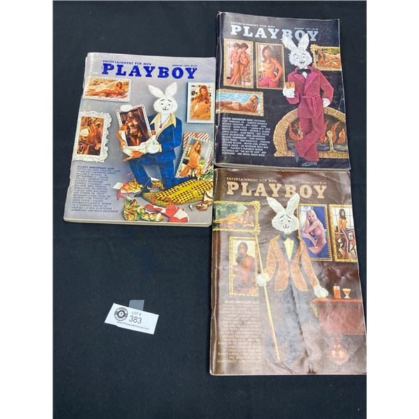 Lot of 3 Holiday Anniversary Playboy Magazines 1970,71,72 and 73