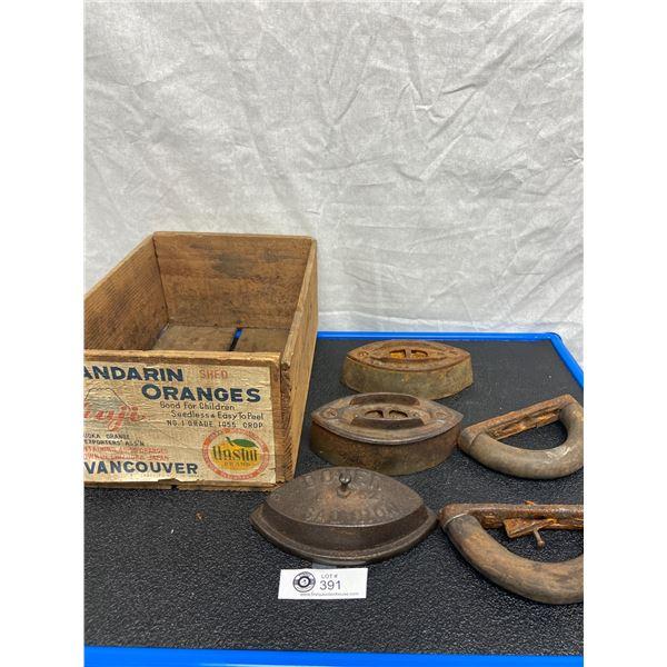 Vintage Vancouver Mandarin Orange Wood Box with 3 Sad Irons 2 Handles