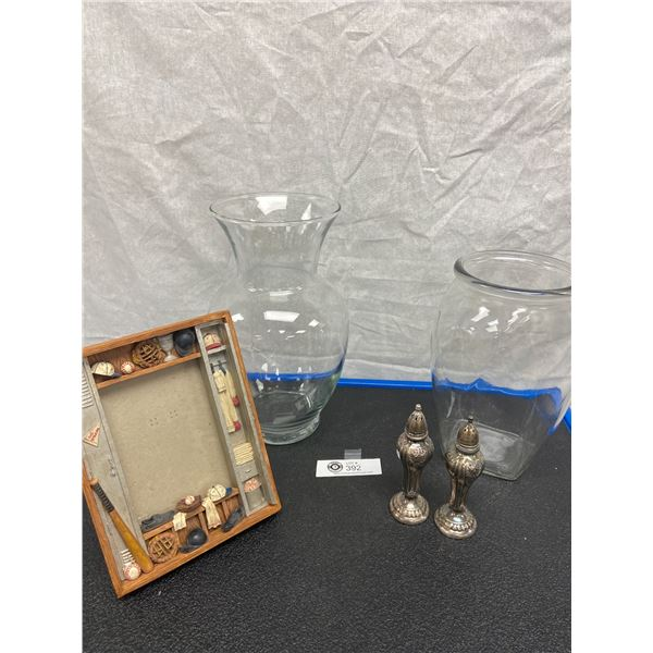 Nice Home Décor Lot of Vases Picture Frame and Silver Plated Salt and Pepper Shakers