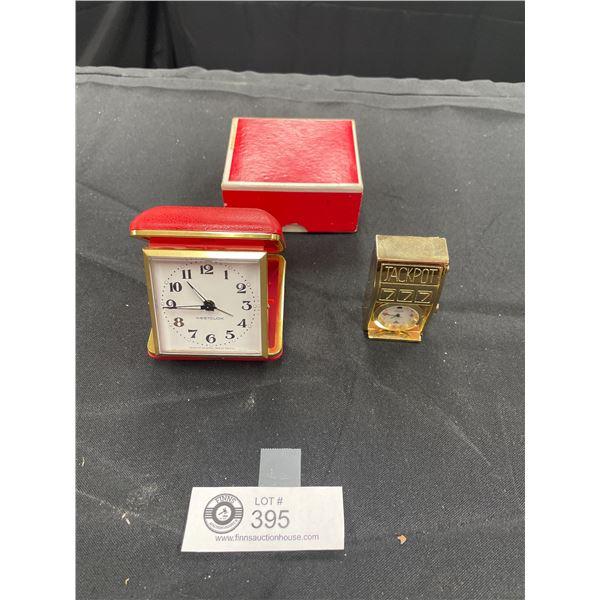 Vintage Westclox Key Wound Alarm Clock Plus Slot Machine Clock