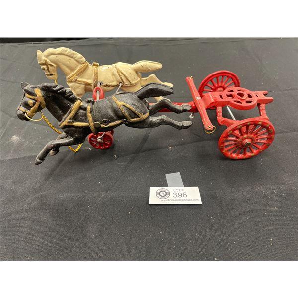Vintage Cast Iron Horses On Base Missing Cart