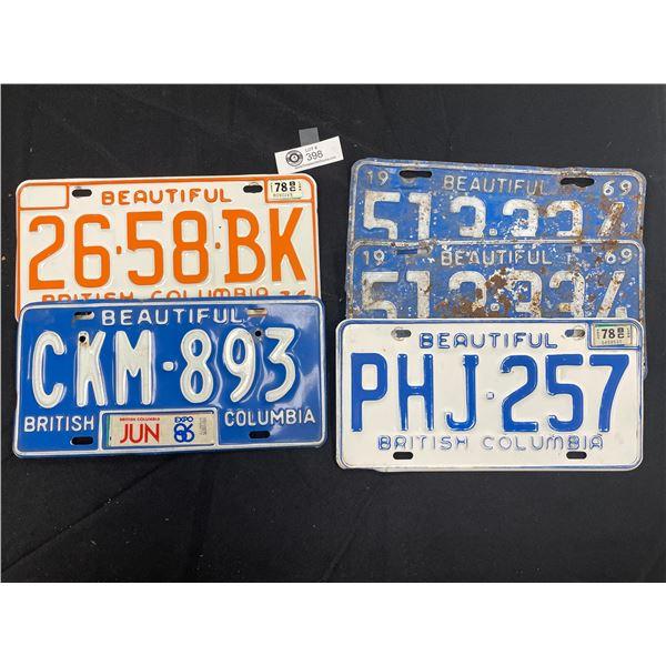 Lot of 5 Vintage BC License Plates