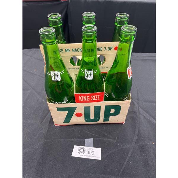 Vintage 7Up King Size Bottle Holder with Bottles