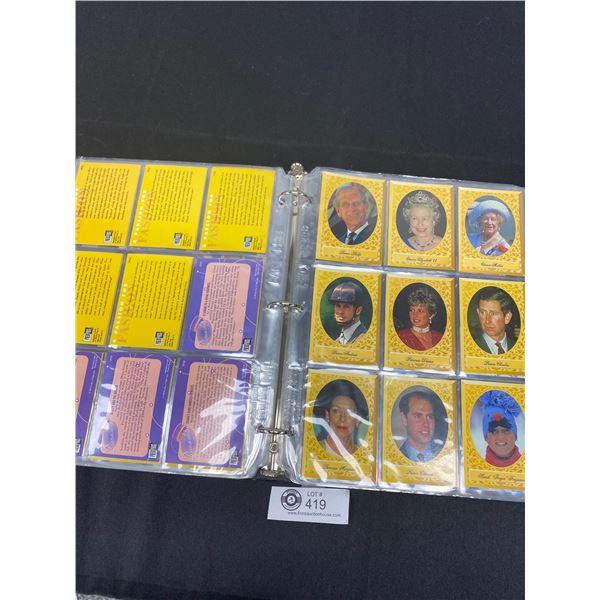 Binder Full of Royalty Trading Cards, Princess Di, Queen Etc