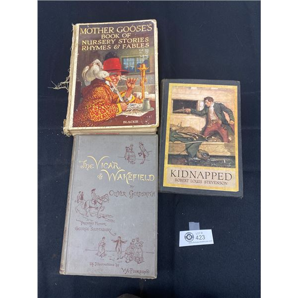3 Old Books from 1920's and 1889 The Vicar of Wakefield, Mother Gooses and Kidnapped