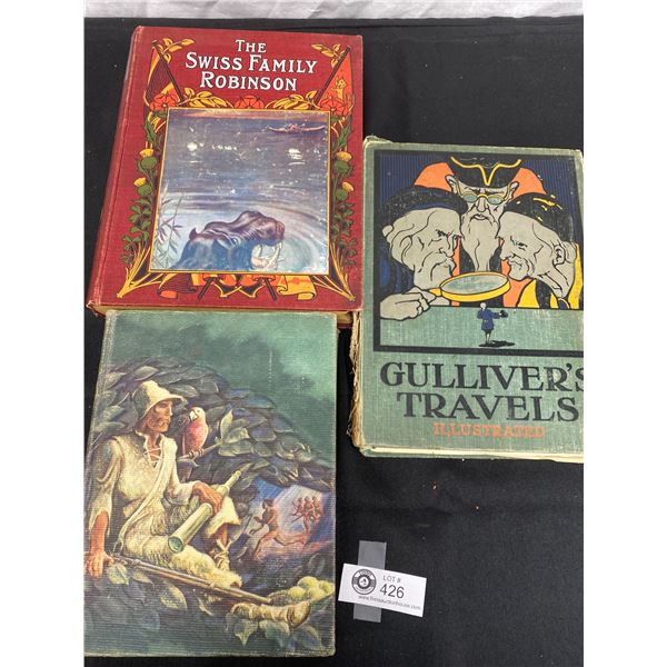 3 Old Hardcover Books 1907 The Swiss Family Robinson, 1946 Robinson Caruso, and Gullivers Travels in