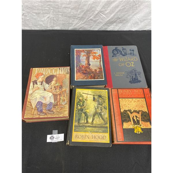 Lot of 5 Hard Cover Books From 1920s-40;s Pinocchio, Honeybee, Wizard of Oz, Hero of Venice