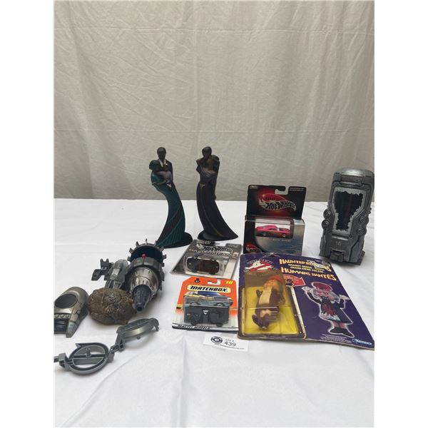 Lot of 9 Toy/Décor Items Including Hotwheels, Matchbox, Mahogany Princess, Ghostbusters, Etc