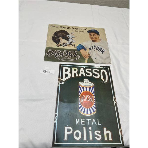 Lot of 2 Collectible Reproduction Tin Signs