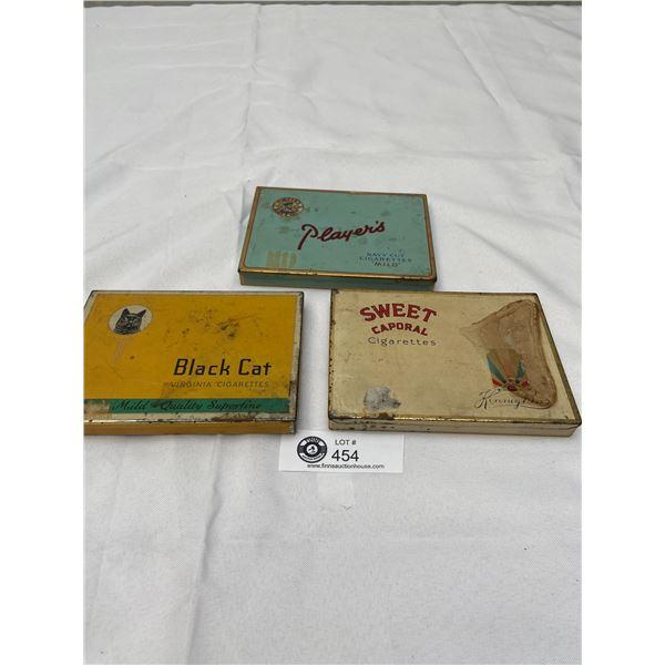 3 Vintage Tobacco Tins, Black Cat, Players Etc