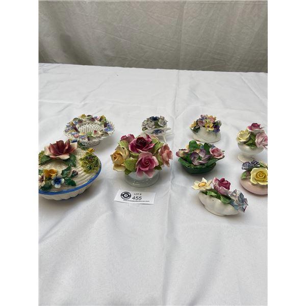 Lot of 9 Vintage Porcelain Flower Display Pieces