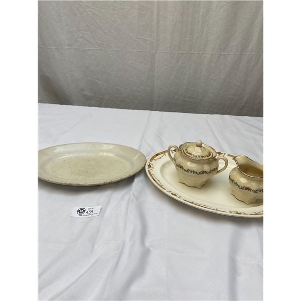 Lot of Vintage Serving Trays Plus Cream and Sugar