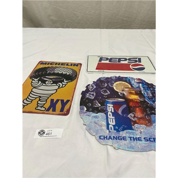 Pepsi License Plate, Pepsi Advertisment and a Michelin Tires Tin Sign ( New)