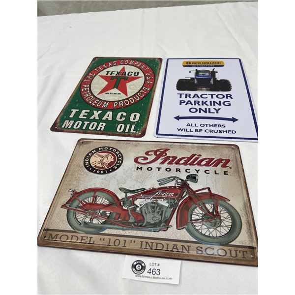 3 Newer Tin Signs Texaco, Indian Motorcycle and Tractor Parking only