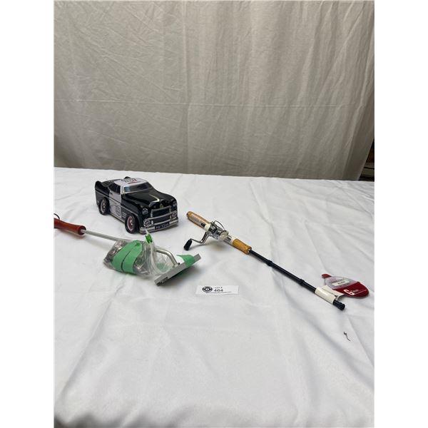 Tin Police Car +Fishing Rod BBQ lighter etc