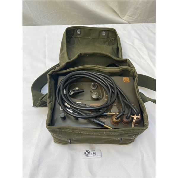Vintage US Army Radio Set Control with Phone Piece all In Bag