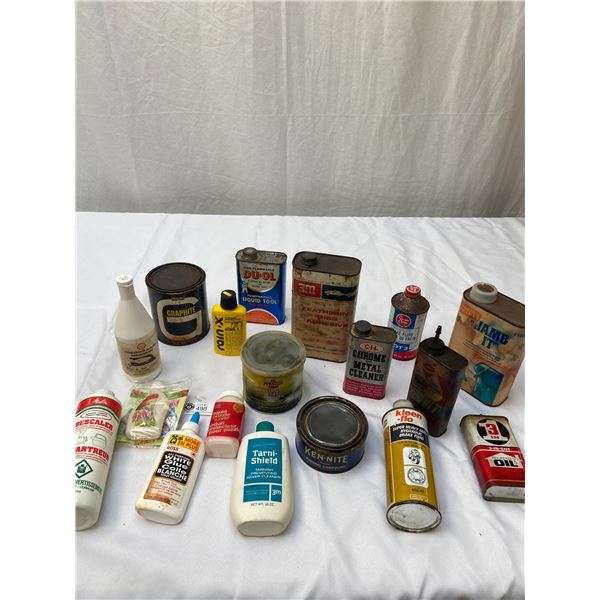 Vintage Garage Tin Lot, Brake Fluid, Kleen -Flo etc