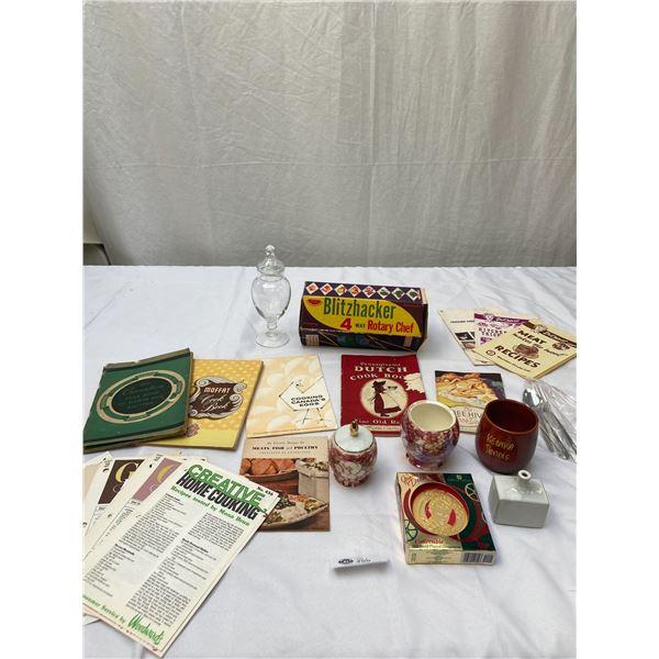 Vintage Kitchen Lot, Recipies Cups Etc