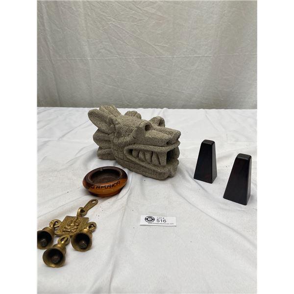Decorative Lot Plastic Dragon's Head, Salt and Pepper Shakers Etc