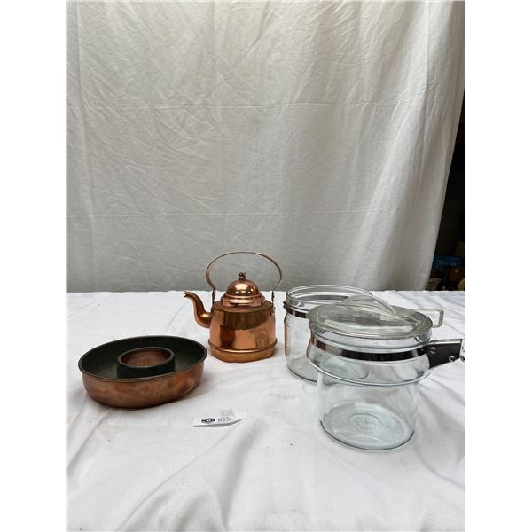 Vintage Kitchen Lot of Copper Teapot, Bowls and Pyrex Coffee Percalator