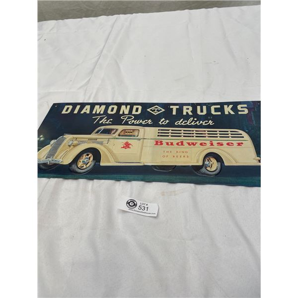 "Newer Diamond Trucks Budwiser Beer Tin Sign 20"" x 9"""