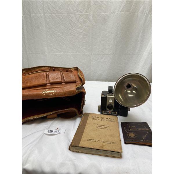 Vintage Camera Bag with Brownie Hawkeye Camera,Books Etc