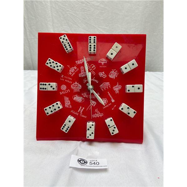 Vintage Table Top Las Vegas Clock With Dice as Numbers
