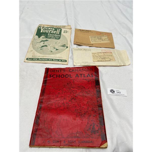 Vintage Ephemera Lot. Canadian School Atlas Etc