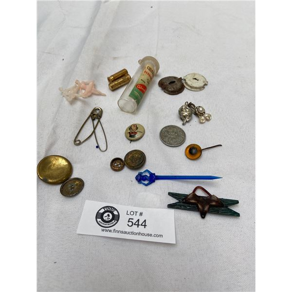 1940's Trinkets Pins, Buttons Etc Lot