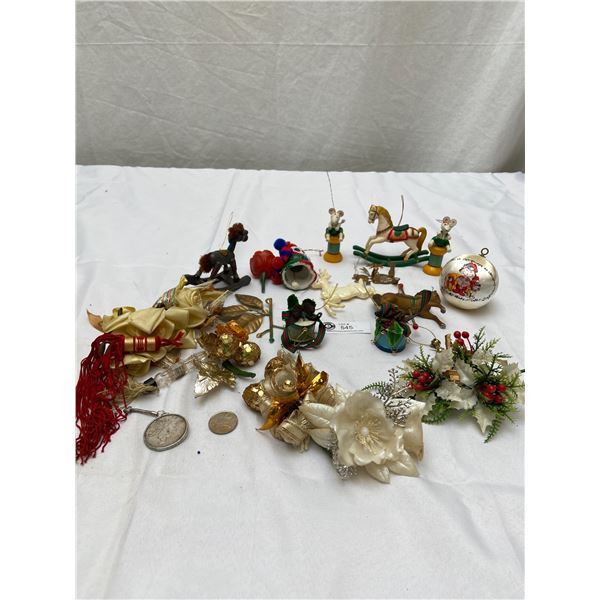 Tray Lot of Vintage Christmas Decorations